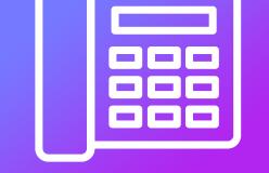 Fond bleu et violet et logo de téléphone fixe blanc