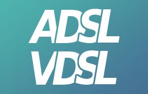 Logo ADSL VDSL blanc sur fond vert et bleu